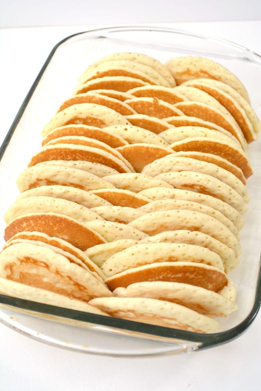 Layered Pancakes In Baking Dish