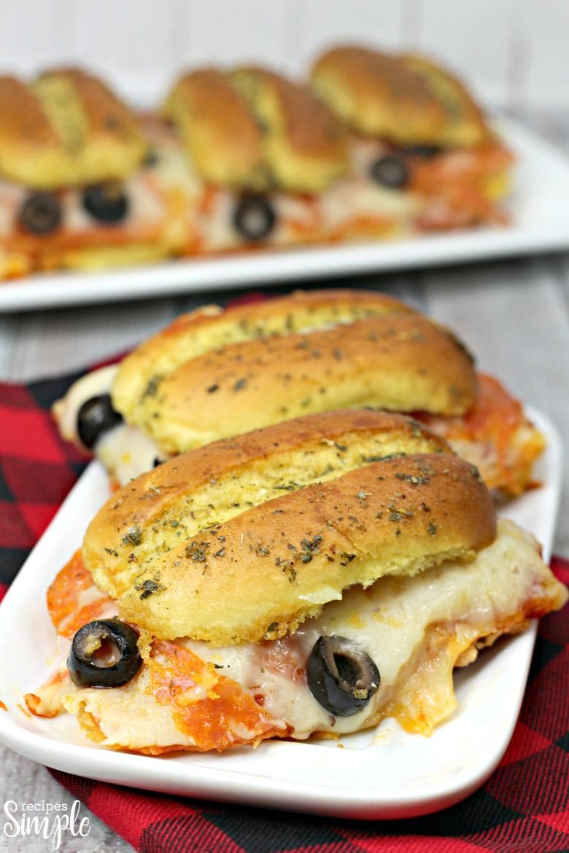 Pepperoni Pizza Sliders On Plate