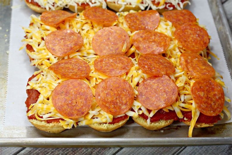 Pepperoni Pizza sliders On Sheet Pan
