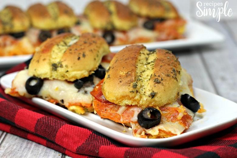 Sheet Pan Pepperoni Sliders On Plate