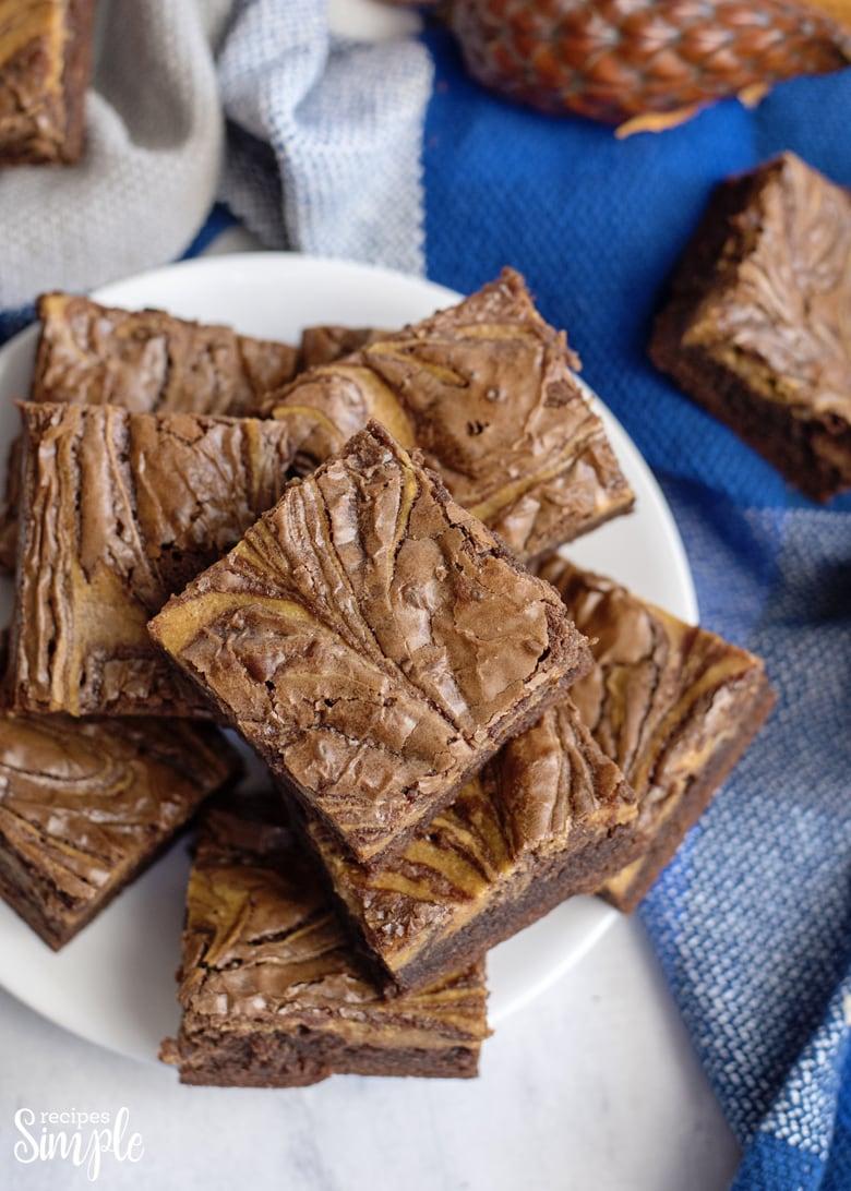 Chocolate Pumpkin Brownies On Plate
