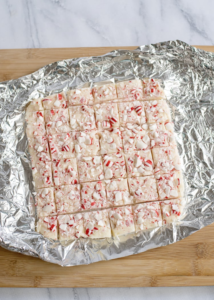 White Chocolate Peppermint Fudge In Pan