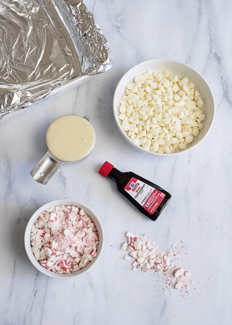 White Chocolate Peppermint Fudge Ingredients