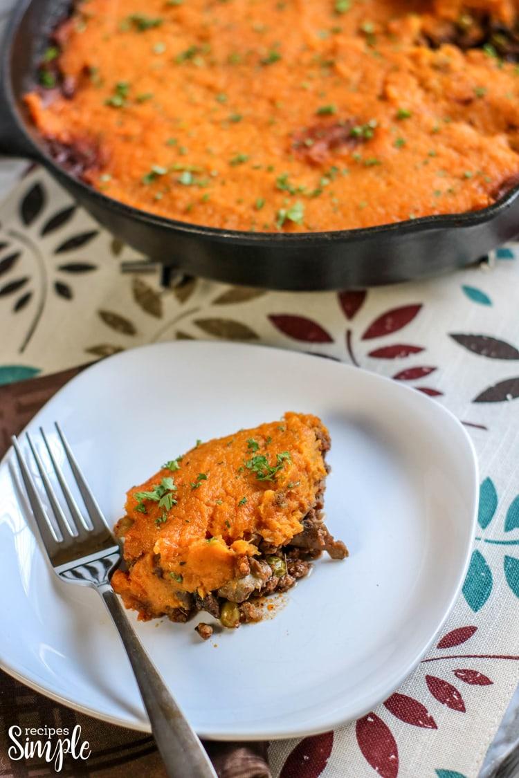 Sweet Potato Shepherds Pie on Plate