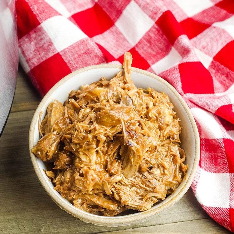 Instant Pot Shredded BBQ Pork In Bowl