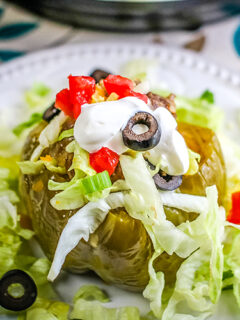 Instant Pot Taco Stuffed Peppers Plated