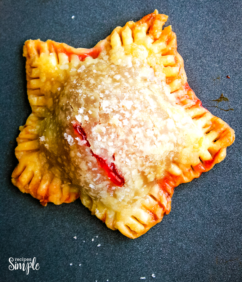 Star Mini Cherry Hand Pie with sprinkled sugar on top