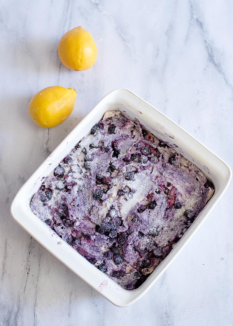 Blueberry Breakfast Cake In Baking Pan