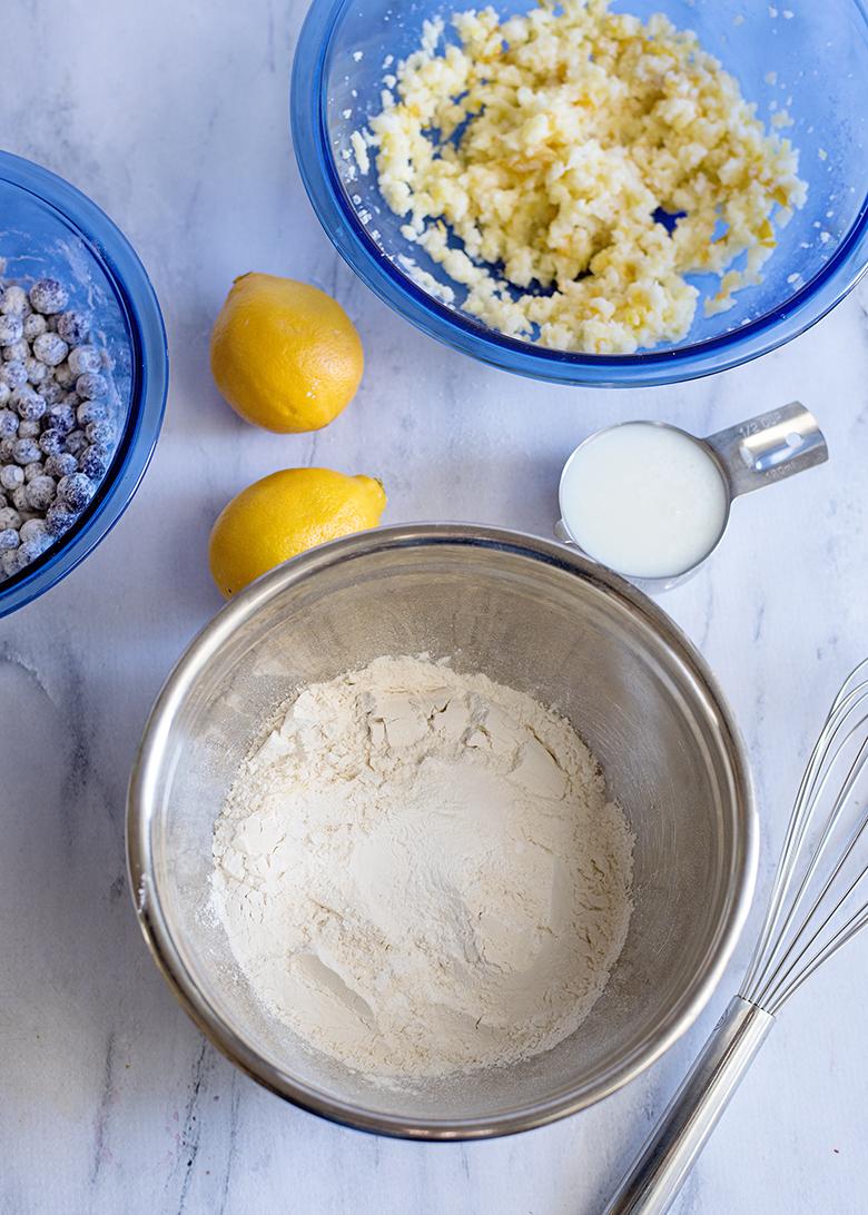 Ingredients flour salt and baking powder in bowl