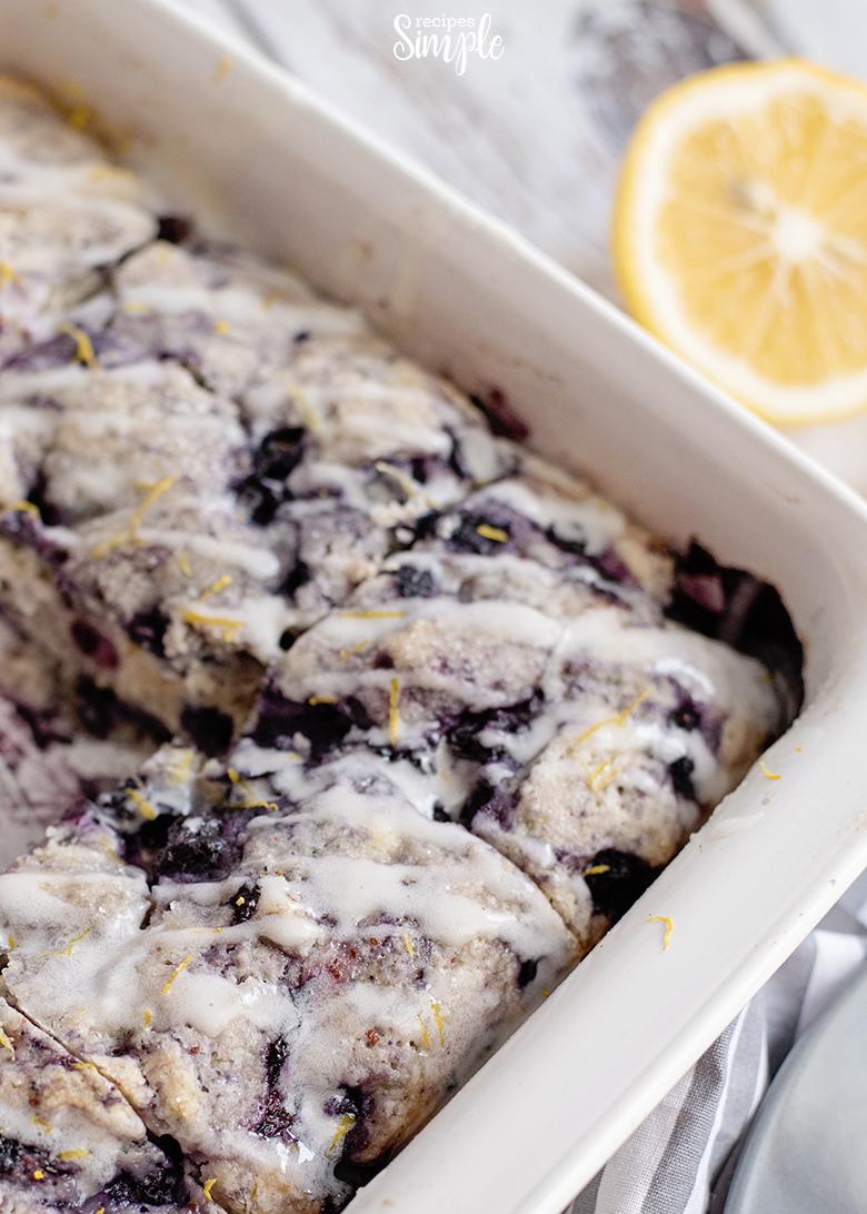 Lemon Blueberry Breakfast Cake in white baking dish