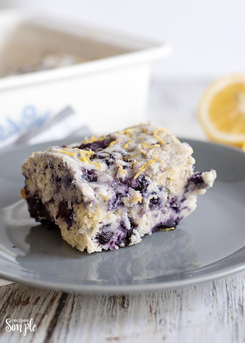 Blueberry Lemon Cake slice on plate