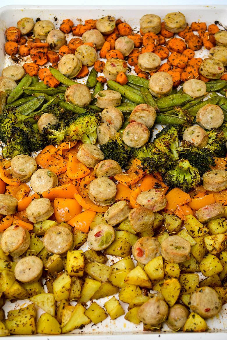 Cooked Roasted Veggies and Sausage on Sheet Pan
