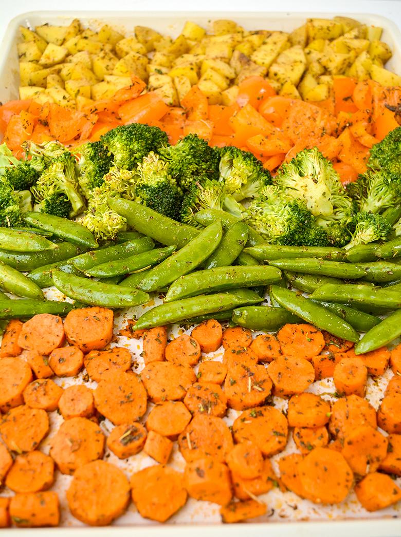 Vegetables Tossed In Seasoning on sheet pan