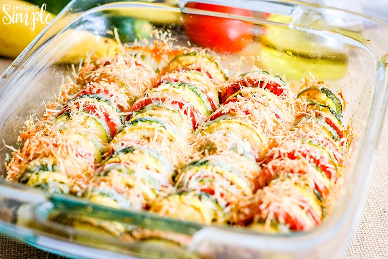 Squash Zucchini Tomato Bake In Square Glass Dish