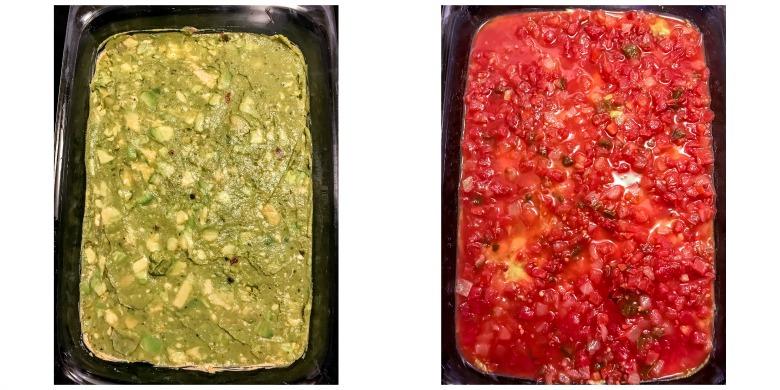 guacamole and salsa layer in glass dish