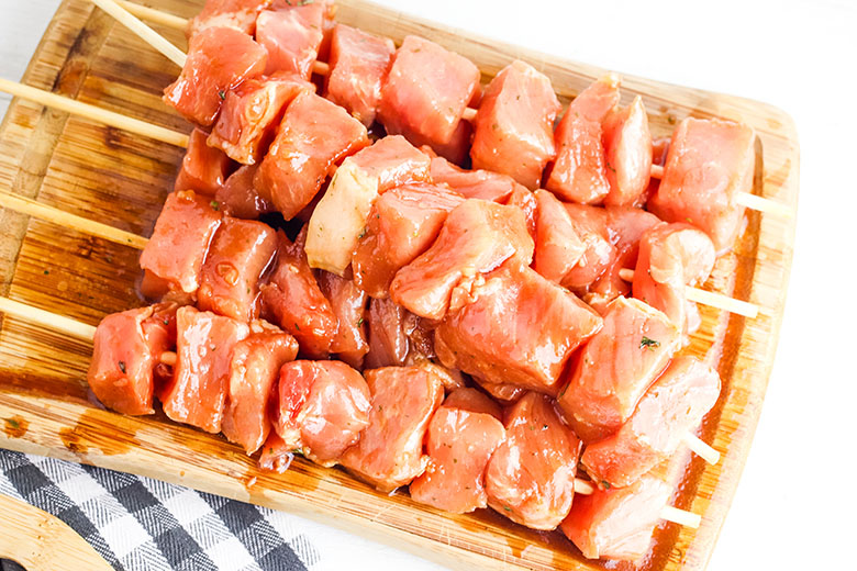 Pork Kabobs on skewers ready to grill
