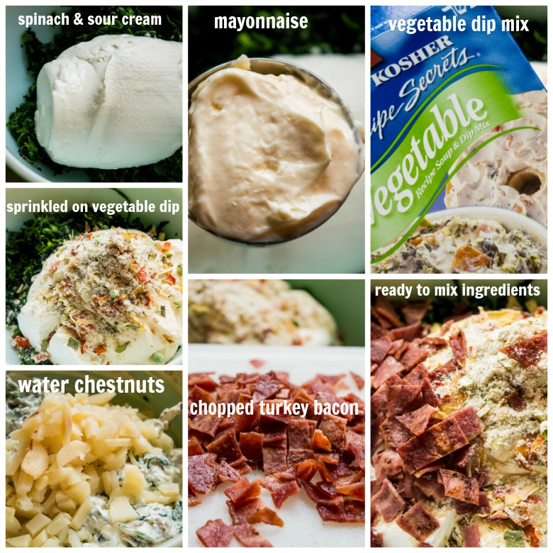collage picture of Spinach Dip Ingredients