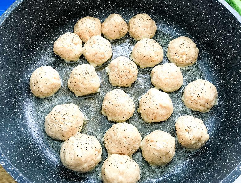 Chicken Meatballs In Skillet