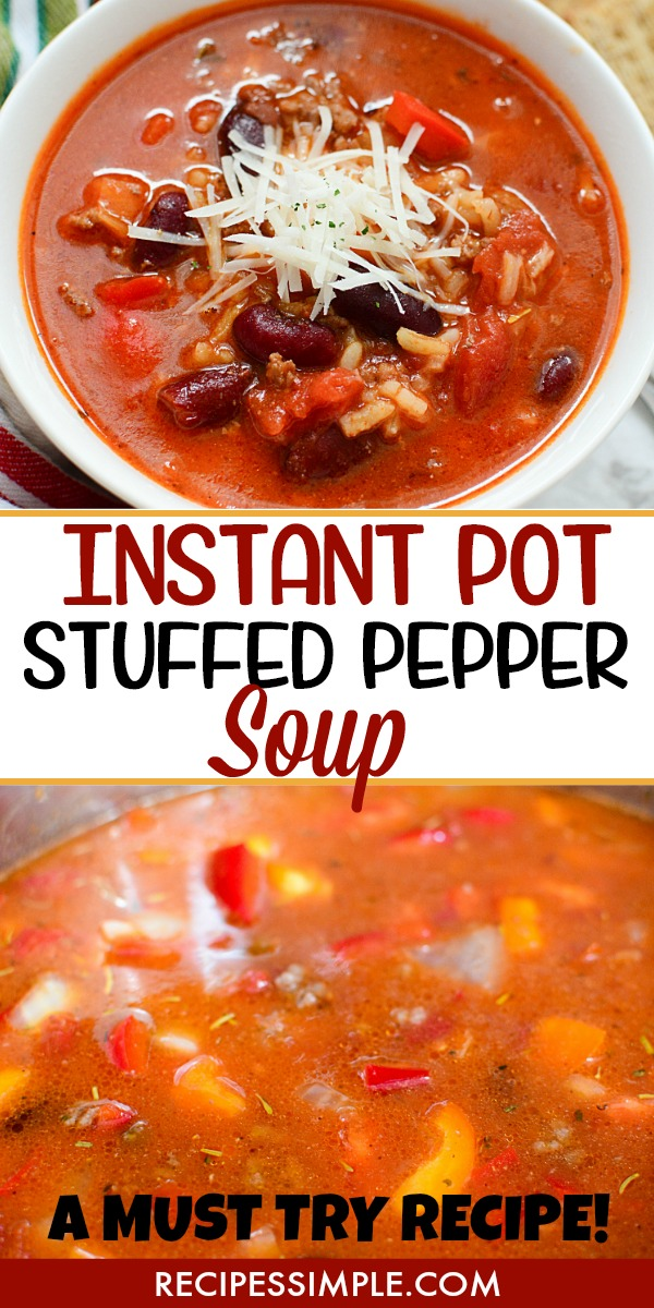 Stuffed Pepper Instant Pot Soup Pinterest Pin