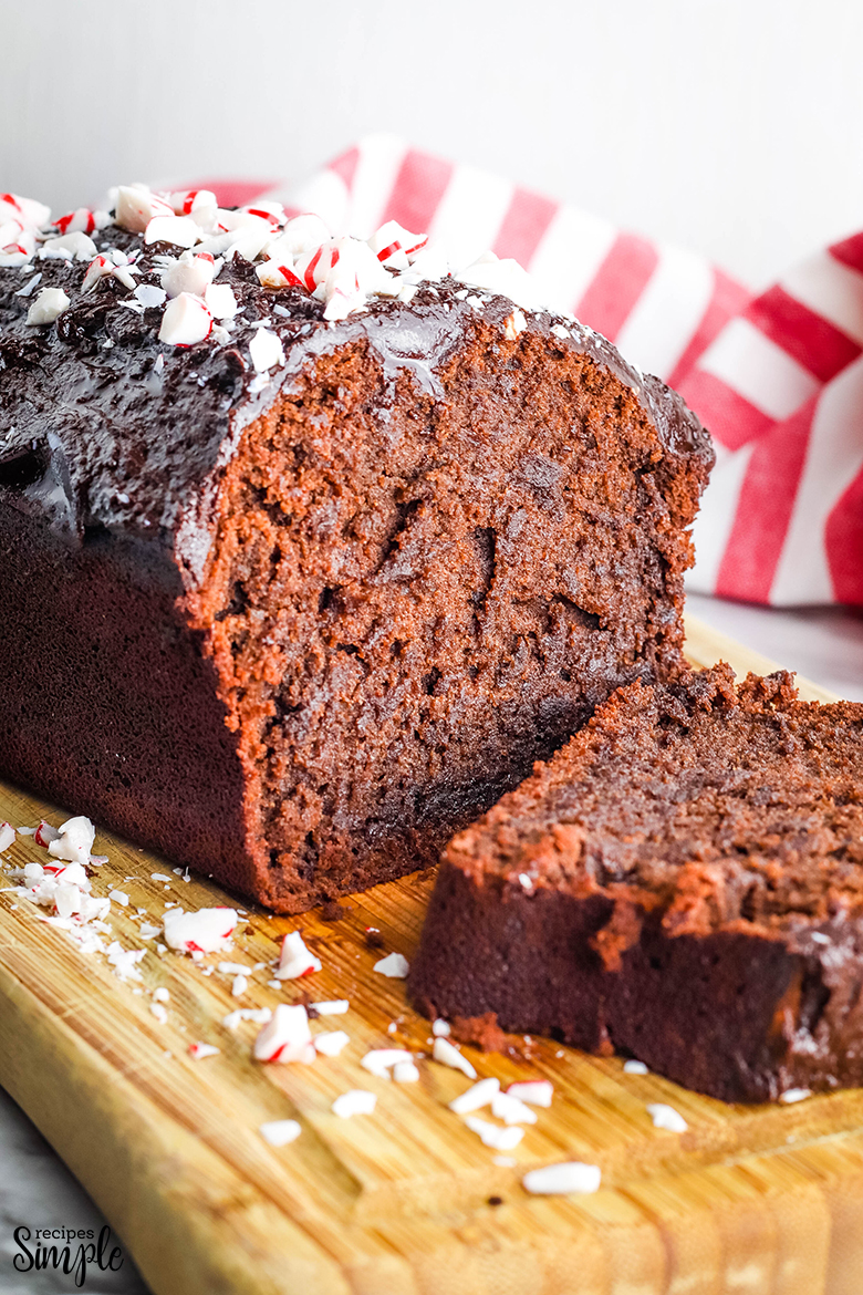 Peppermint Chocolate Pound Cake on wooden serving board