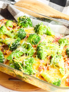 Cooked Ranch Cheddar Chicken and Broccoli In Glass Baking Dish