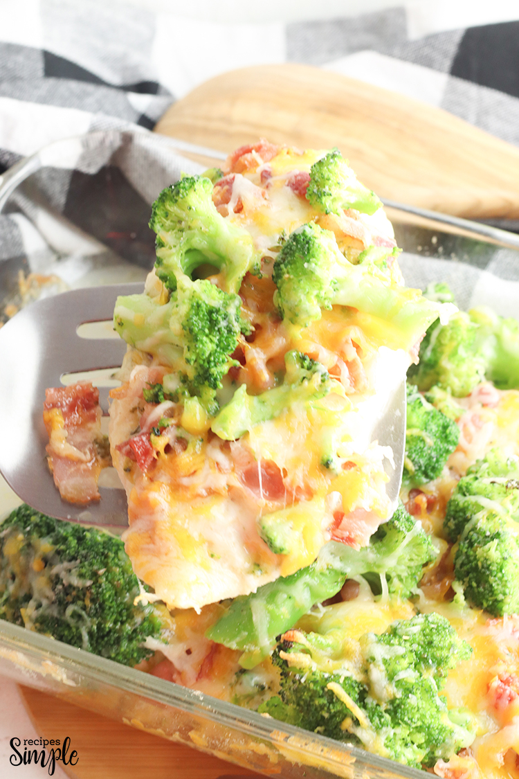 Close up of Ranch Chicken Topped With Cheddar and Broccoli