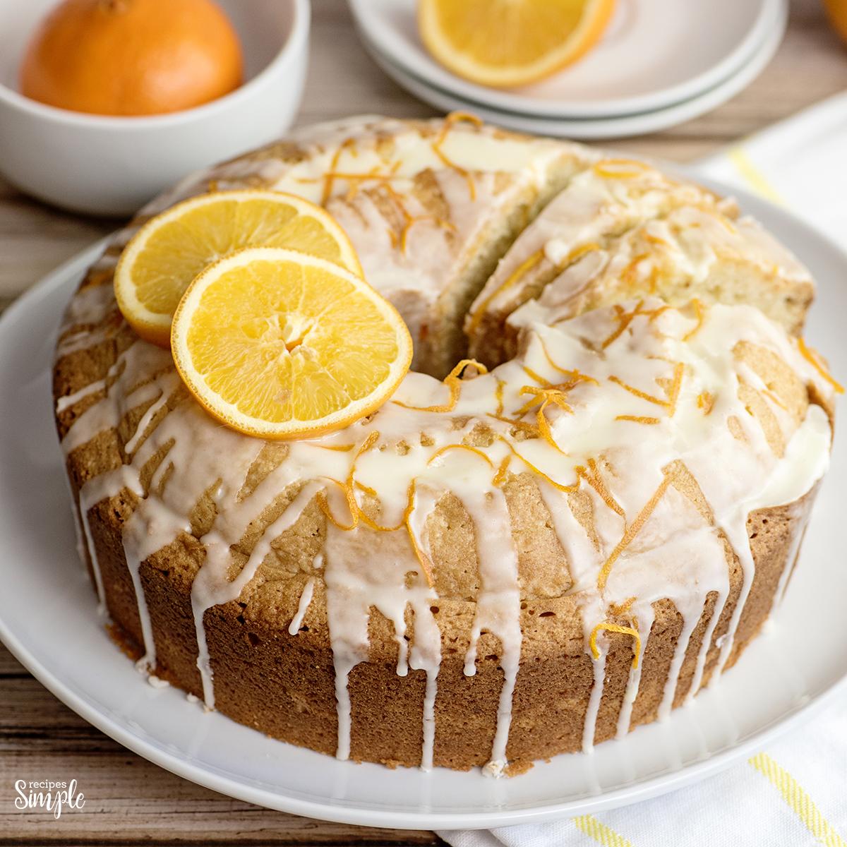 Glazed Orange Bundt Cake on white plate