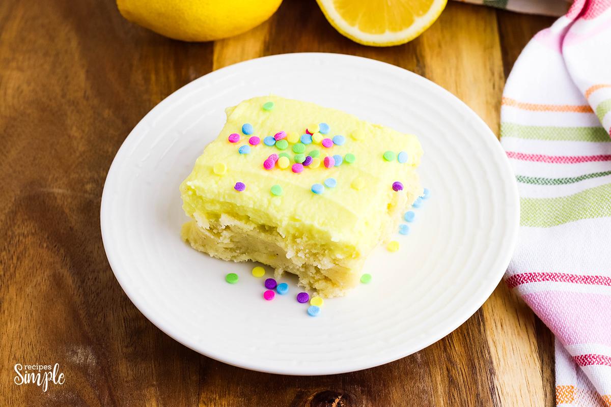 Lemon Cookie Bars With Sprinkles on white plate