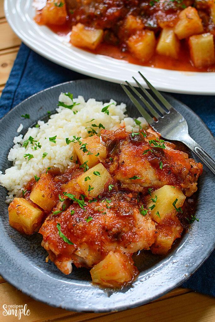 Pineapple salsa chicken Dinner on Blue Plate