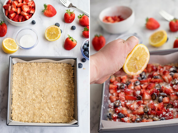 Process step 3 and 4 layering ingredients in baking pan
