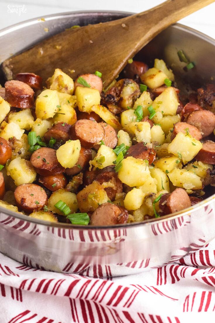 Cajun Sausage and Potatoes in Skillet