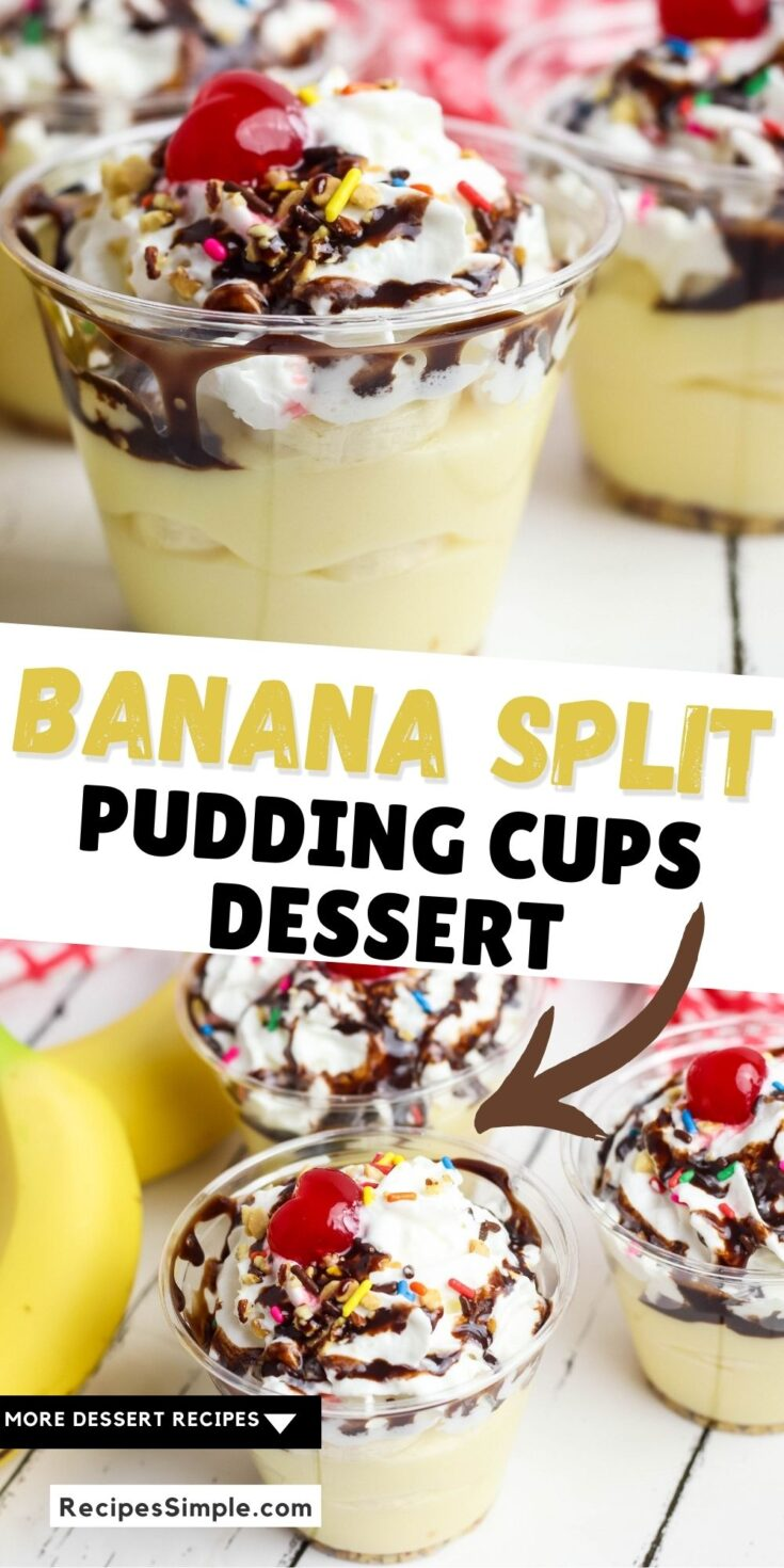 Banana Split Pudding Cups Pinterest Pin