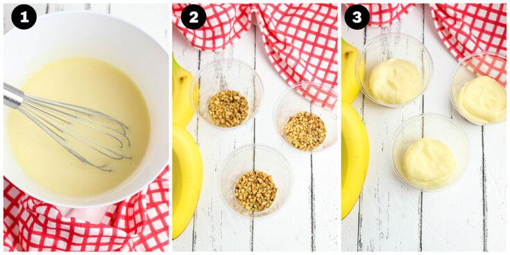 Banana Making Split Pudding Steps 1 2 3