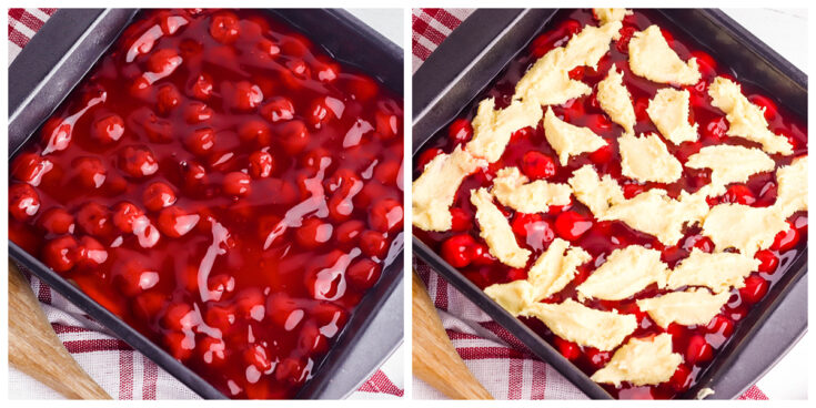 Cherry pie filling with crust dough on top in baking pan