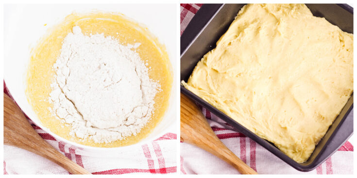 Crust ingredients in mixing bowl and pressed in baking pan