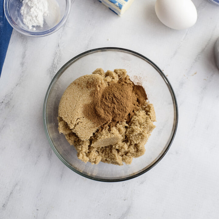 Light Brown Sugar and Cinnamon in mixing bowl