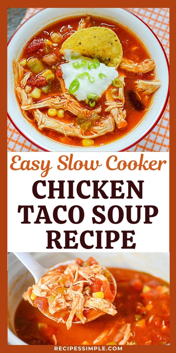 Slow Cooker Chicken Taco Soup Pinterest Pin