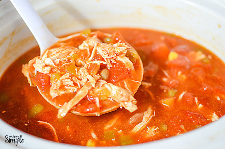 Serving Spoon full of Chicken Taco Soup over slow cooker